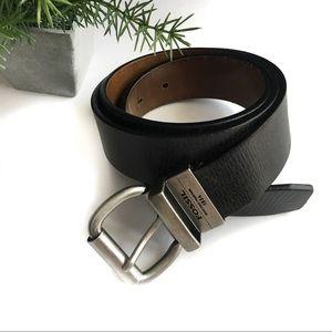 Fossil Genuine Leather Belt Black Brown Size 38
